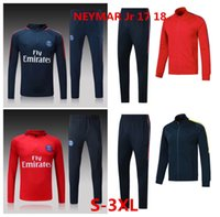 Wholesale Nylon Pant Suit - Whosales New PsG Survetement 17 18 Neymar Jr Soccer Traning Suit Mbappé 2017 2018 track suit Coat and Pant Long Full Jacket Soccer Uniforms
