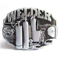 Wholesale Hot Welder - Disom Buckles Hot Sale Welder Belt Buckle Brand Western Belt Buckle With Pewter Finish Suitable For 4cm Width Belt Drop shipping