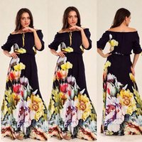 Wholesale Ladies Bohemian Long Dress - New plus size long summer dresses for womens fifth printing collar long dress Puff fashion clothes ladies casual dresses quality clothing