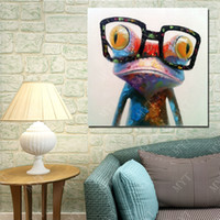 Wholesale Cartoon Picture Wall Room - Hot Sale Glasses Frog Oil Painting On Canvas Animal Oil Painting Abstract Modern Canvas Wall Art Living Room Decor Picture