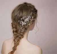 Wholesale vintage bridal headdress - beijia Gold Rhinestone Pearl Hair Jewelry Bridal Comb Vintage Wedding Headpiece Accessories Handmade Women Headdress