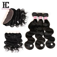 Wholesale hair extensions full lace closure - Brazilian Lace Frontal Closure With 3 Bundles Full Frontal Lace Closure 13x4 With Bundles Lace Frontal Weave Body Wave HC Hair Extensions