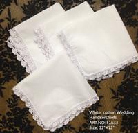 """Wholesale Lace Handkerchiefs Wholesale - Fashion Ladies Handkerchiefs 12PCS lot 12""""x12""""White 100% cotton Wedding Handkerchief Perfect Embroidered Light Purple Lace Hankies For Bride"""