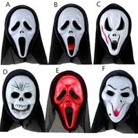 Wholesale horror scream - New Scary Ghost Face Scream Mask Creepy for Halloween Masquerade Party Fancy Dress Costume