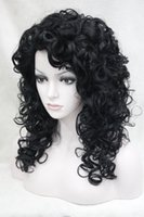 Wholesale Pictures Jets - 100% Brand New High Quality Fashion Picture full lace wigs>>Fashion sexy cosplay jet black curls 50cm long synthetic hair wig