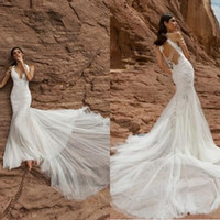 Wholesale Pnina Tornai Lace - Gorgeous 2016 Pnina Tornai White Tulle Embroidery Mermaid Wedding Dresses Sexy Backless Beading Chapel Train Bridal Gowns Custom Made EN7044