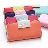 Wholesale Wallet Birds - Multi-card Position Two Fold Long Zipper Purse Wallet asuka flyer birds card holder for women for iphone samsung