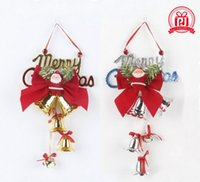 Wholesale Plastic Christmas Hanging Ornament - 2016 Beautiful 14cm Christmas bell Pendant Christmas tree ornaments Plastic English bell hanging Santa Claus lovely Pendant