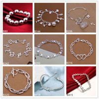 Wholesale 925 Bracelets For Sale - Beaded heart music sterling silver bracelet 8 pieces mixed style GTB13 Online for sale fashion women's 925 silver bracelet