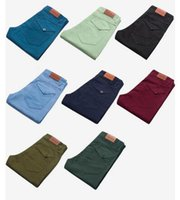 Wholesale Work Jeans Wholesale - Popular sales Young Boy Straight Pencil Stretch Jeans Candy color Trousers Top Stylish Men's Casual Pants Large Chinos working Casual Pants
