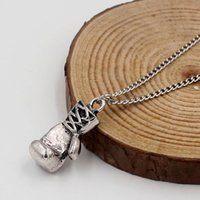 Wholesale Mini Boxing Gloves Wholesale - Pendant Gold Silver Plated Fashion Mini Boxing Glove Necklace Boxing Jewelry Cool Pendant For Men Boys Chain Necklaces