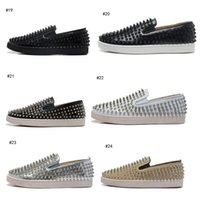Wholesale Canvas Boat Sneakers - Luxury Brand Spikes Flats Red Bottom Loafers Platform Sneaker Men Women Shoes Evening Party Dress Walking Boat Shoes 36-46