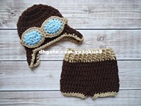 Wholesale Hats Pilot Handmade - Newborn Unisex Boy Girl Baby Brown Pilot Cosplay Hat Pants Baby Photography Prop Handmade Crochet Knitted Costume animal backpack