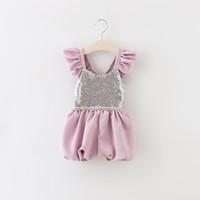 Wholesale Sequin Bra Halter - Girls Clothes 2016 New Fashion Girls Lace Sequins Pearl Corset Jumpsuit Backless Halter Bra Straps Korean Suspender Thouser MK-639