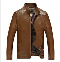 Wholesale Male Leather Wool Clothing - Fall-High quality winter male clothing PU leatherwear Men's wear leisure outwear stand collar thick fleece wool man leather jacket