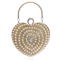 Wholesale Heart Shaped Rhinestone Wedding Dresses - Fashion beautiful heart shaped woman Luxury dinner clutch handbag wedding party dress pearl diamond rhinestone beaded evening bag