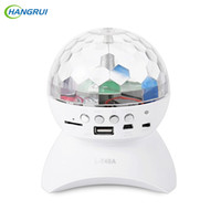 Wholesale Wireless Dj Speakers - Wholesale- HANGRUI LED Crystal Magic Ball Stage Effect Light DJ Club Disco Party Lighting Wireless Mini bluetooth speaker With USB  TF FM
