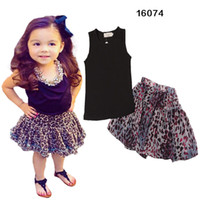 Wholesale Leopard Skirt Suits - Girl Leopard bowknot dot dress suits DHL Summer Chiffon cotton Sleeveless T-shirt Short skirt dress suit baby clothes B001