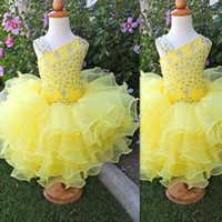 Wholesale Cake Cup Pink - Toddler Pageant Dresses 2016 Yellow Cup Cake Crystal Beaded Kid Prom Gowns Tulle Ruffles Cheap Cute Girls Birthday Party Dress