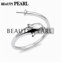 Wholesale 925 Silver Blanks - 5 Pieces Dolphin Design Pearl Ring Mount Jewelry Findings Blanks 925 Sterling Silver for DIY Making