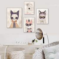 Acquarello moderno Cartoon animale animale Stampa Poster Arte Kawaii Cat Fox Nursery Foto della camera dei bambini Immagini di tela di canapa Decorazione domestica