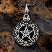 Wholesale Wicca Pentacle - punk Pewter Norse Vikings Pendant Necklace Celttic knot Pentagram Pentacle Star Pewter Wicca Pendant Necklace hot sale
