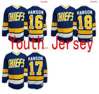 Wholesale Kids Boy Jacked - 2016 Mix Order 17 Steve HANSON Youth Charlestown CHIEFS Jerseys,16 Jack HANSON ICE Hockey Jersey,Kid boy 18 Jeff HANSON Jersey