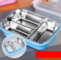 Wholesale 2 Layer Stainless Steel Plastic Rice Box Set Bento Box With Lid Dinnerware Set ml Meal Food Box Containers