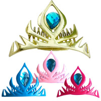 Wholesale Snow Headband - PrettyBaby elsa coronation crown snow queen crown elsa crown gold frozen plastic crown headband frozen elastic hair bands free shipping
