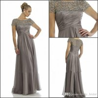Wholesale Dark Grey Long Dresses - 2016 Long Mother Of The Bride Dresses Grey Plus Size Short Sleeve Beaded A Line Chiffon Formal Wedding Party Dress Mum Evening Gown