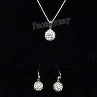 Wholesale gift christmas jewellery for sale - Group buy 10mm White Disco Ball Pendant Earrings And Necklace Crystal Jewellery Set For Present Sets