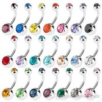 Wholesale Surgical Steel Navel - 316L Surgical Steel Crystal Rhinestone Belly Button Rings Navel Bar Rings Piercing Body Jewelry 50pcs lot