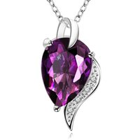 Wholesale Extravagant Gifts - Necklaces pendants Purple crystal zircon white gold plated jewelry Hot selling extravagant water drop jewelry for women free shipping