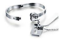 Wholesale lock key couple bracelet - Couple Titanium Key Lock Bangle Bracelet Titanium Bracelet Necklace Set Titanium Steel Jewelry Sets Valentine Day
