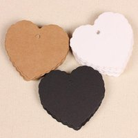 Wholesale Wholesale Blank Bookmarks - 50pcs set Blank Heart Shape Craft Paper Hang Tag Wedding Party Label Price Gift Cards Decoration Bookmark