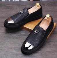 Wholesale Wedding Shoes Punks - New Style Fashion Men's Loafer Shoes Slip on Denim Shoes Men Casual Punk Flats Men Driving Shoes 2 Colors EU Size 38-43