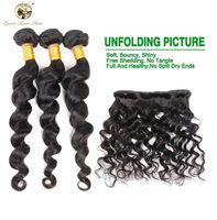Wholesale Brazilian Loose Wave Closure - qlove Hair Brazilian Loose Wave With Closure 7a Unprocessed Human Hair Loose Wave 3 Bundles With Closure Hot Selling