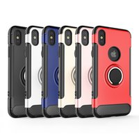 Wholesale pcs value - Valued fashion Lazy revolving ring stand On-board Anti-knock magnetic absorption 360 carbon fiber TPU PC hybird back case for iphone X