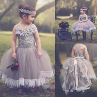 Wholesale Custom Stocks - Cheap In Stock Lace Flower Girl Dresses Gray Floor Length Tulle Ball Gowns Little Girls Dresses Custom Made Birthday Party Communion Dress