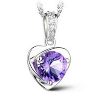 Wholesale 925 locket heart - Occident Style 925 Sterling Silver Necklace Pendant Love Charm Floating Locket White Purple Austrian Crystal Pendant Necklaces Free shipping
