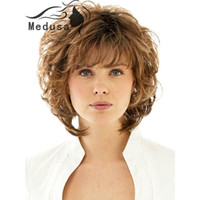 Wholesale Hairstyles For Girls - Free shipping Gorgeously shag hairstyles Synthetic Wavy pastel wigs for fashion women Medium length synthetic wavy brown wig with bangs