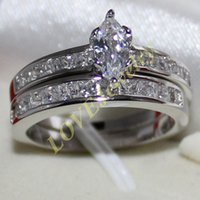 Wholesale Marquise Wedding Sets - Lady's 925 Silver Filled Marquise-cut Simulated Diamond CZ Side Stone Wedding Couple Ring Set Two Layers Size 6-10 Brand Jewelry