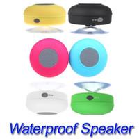 wasserdichte box porzellan großhandel-Bluetooth wasserdichte drahtlose Lautsprecher Dusche Auto Freisprecheinrichtung erhalten Anruf Mini-Saug-Telefon IPX4 Lautsprecher Box Player 6 Farben