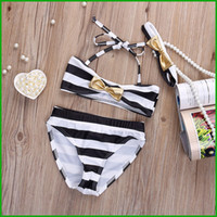 Wholesale Cheap Bow Band - 2016 summer Baby Girls Striped Bow Bikini Set Swimwear Swimsuit Bathing Swimming Head Band real factory cheap price fast free shipping