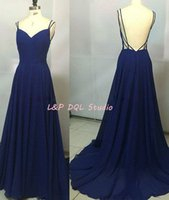 Wholesale Evning Long Dress - Sexy Royal Blue Chiffon Evening Dresses with Spaghetti Straps Backless Long Prom Dresses Evning Wear Cheap