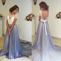 Jewel Neck Prom Kleider Open Back A-line Tüll Formal Abendkleider Cap Hülse Boden Länge Reich Backless Spitze Applique Prom Partykleid