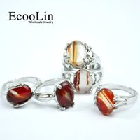 EcooLin Jóias Marca Natural Stone Silver Plated Women Rings For Woman Moda Atacado Jóias Bulks Packs Lots Hot Sale RL4009