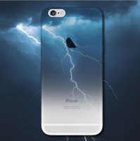 Wholesale Skins Half - For iphone 7 Half Clear TPU Scenery Case Lightning Starry Sky Meteor Mountain City Ocean View Back Skin Soft Phone Cover for iphone 6s Plus