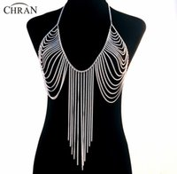 Wholesale Chain Bras Wholesale - Wholesale-19 Designs Luxury Fashion Stunning Sexy Body Belly, Silver Gold Tone Body Chain Bra Slave Harness Necklace Tassel Waist Jewelry