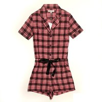 Wholesale Womens Cotton Pajamas Sets - femme spring summer Woven cotton shorts sleeve plaid one piece combination pajamas pyjamas pijamas sets for womens mujer donna dames